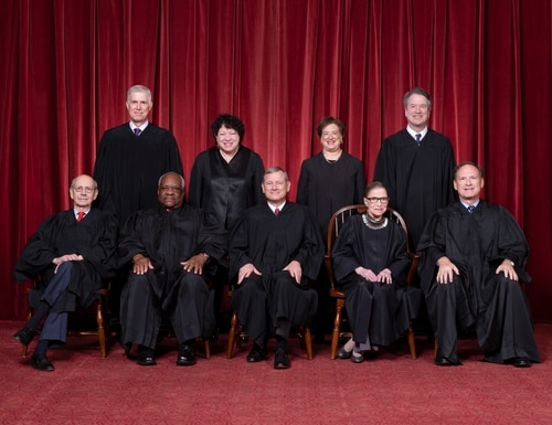 Front row, left to right: Associate Justice Stephen G. Breyer, Associate Justice Clarence Thomas, Chief Justice John G. Roberts, Jr., Associate Justice Ruth Bader Ginsburg, Associate Justice Samuel A. Alito. Back row: Associate Justice Neil M. Gorsuch, Associate Justice Sonia Sotomayor, Associate Justice Elena Kagan, Associate Justice Brett M. Kavanaugh. (Fred Schilling/Supreme Court)
