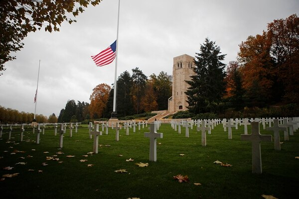 The US flag flutters at half mast prior to a ceremony at the Aisne-Marne American Cemetery and memorial in Belleau, eastern France, Saturday, Nov. 10, 2018. President Donald Trump cancelled his visit due to bad weather. (Francois Mori/AP)