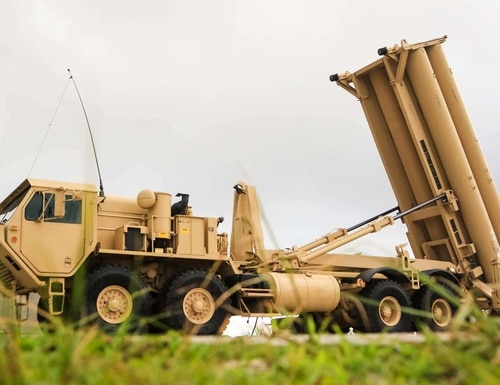A Terminal High Altitude Area Defense weapon system is shown in Guam on Oct. 26, 2017. (Capt. Adan Cazarez/U.S. Army)