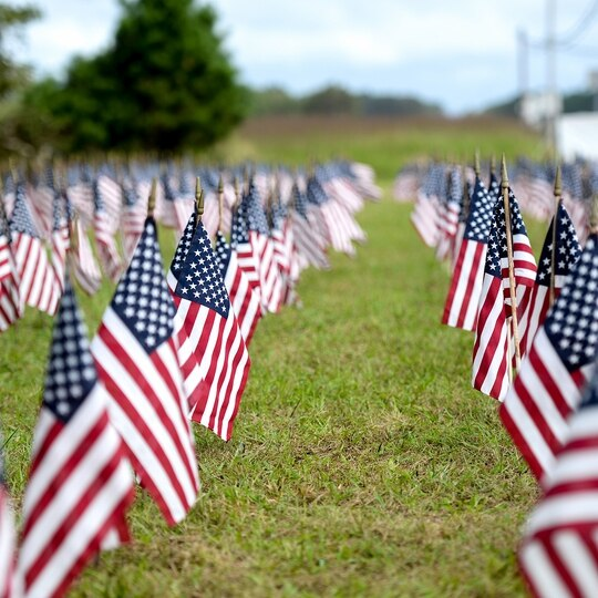Approximately 660 American flags stand in the ground Sept. 1, 2020, outside of the 177th Fighter Wing, Egg Harbor Township, N.J. to represent the number of veterans who take their own lives every month in the United States. (Airman 1st Class Hunter Hires/Air National Guard)