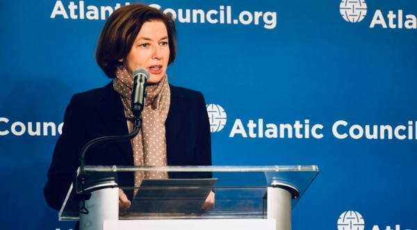 French Armed Forces Minister Florence Parly speaking at the Atlantic Council in Washington, D.C., Monday. (French Embassy/Twitter)