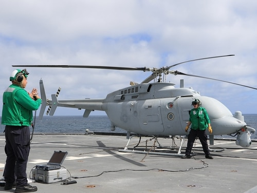 A MQ-8C Fire Scout helicopter drone like this one crashed last week at a Southern California Navy base. A Bravo variant belonging to the same squadron crashed on the same base back in August. The C is shown here in 2018. (Navy)