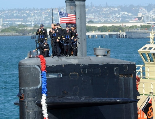 150209-N-NB544-037 SAN DIEGO (Feb. 9, 2015) Sailors assigned to the Los Angeles-class attack submarine USS San Francisco (SSN 711) stand on the bridge as it arrives pierside following a seven-month deployment. San Francisco executed the Chief of Naval Operations' maritime strategy in supporting national security interests and maritime security operations. (U.S. Navy photo by Mass Communication Specialist 2nd Class Kyle Carlstrom/Released)