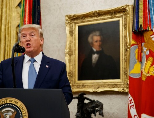President Donald Trump speaks during a ceremony to present the Presidential Medal of Freedom to former Attorney General Edwin Meese, in the Oval Office of the White House, Tuesday, Oct. 8, 2019, in Washington. (Alex Brandon/AP)