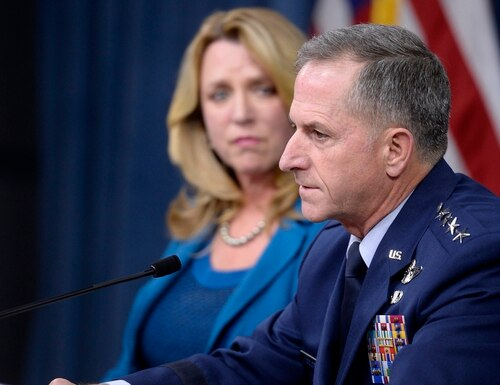 Air Force Chief of Staff Gen. David Goldfein, with Secretary of the Air Force Deborah Lee James, answers a question during the