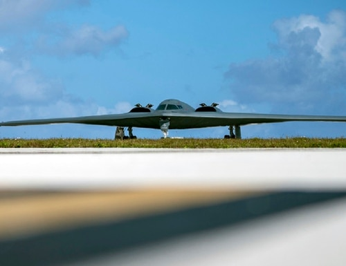 A B-2 Spirit assigned to the 509th Bomb Wing out of Whiteman Air Force Base, Mo., taxis on the flightline at Andersen Air Force Base, Guam. in January 2018. (Staff Sgt. Joshua Smoot/Air Force via AP)