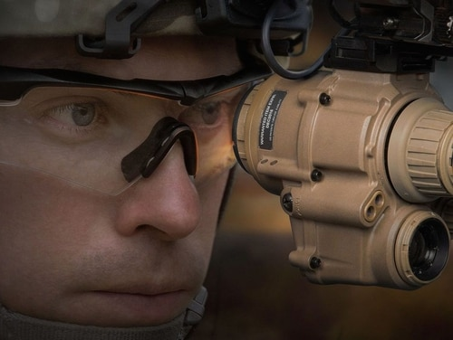 The Army's new Enhanced Night Vision Goggles-Binocular uses wireless technology to merge the weapon sight with day/night vision, thermal and augmented reality to improve the soldier's battlefield awareness. (BAE Systems)