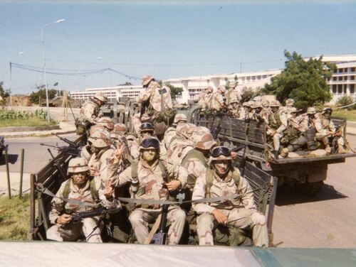 Soldiers with the 10th Mountain Division in Mogadishu, Somalia in 1993. A new documentary,