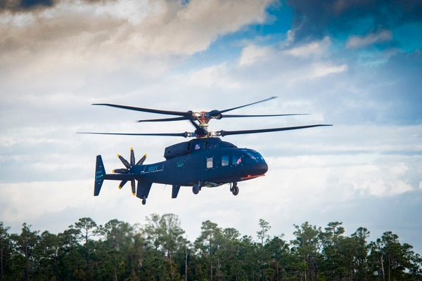 The Sikorsky-Boeing made SB-1 Defiant coaxial demonstrator helicopter flew on March 21, 2019, for the first time at Sikorsky's West Palm Beach, Fla., facility. (Courtesy of Lockheed Martin)