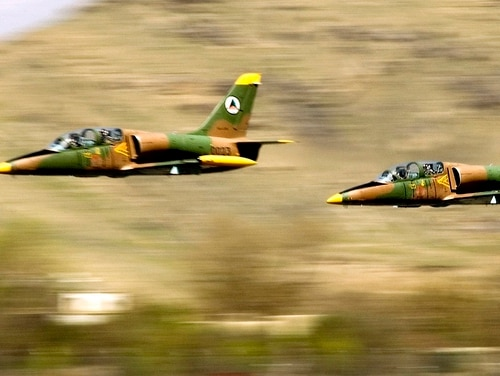 Afghan National Air Corps L-39 Albatross jets take off in a formation practice for an aerial parade for Afghan National Day in Kabul. The head of the private security firm formerly known as Blackwater wants to provide a private air force to supplement the Afghan's fledgling fleet.