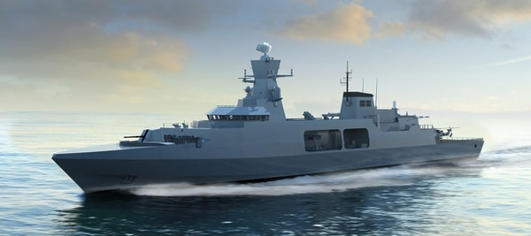 An artist's rendering of a Type 31e frigate contender. (BAE Systems)