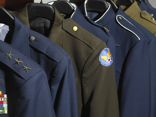 The Air Force has had several different service dress jackets through the years. For the next service jacket, officials are looking to historic uniforms for inspiration. They hope to come up with a jacket that has more of a military look. (Tech. Sgt. Cohen Young/Air Force)
