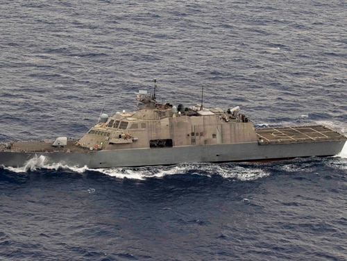 The Freedom-class LCS Detroit sails through the Caribbean Sea. Detroit suffered a casualty to its propulsion system in October 2020. (MC2 Anderson Branch/U.S. Navy)