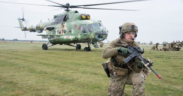 Pararescuemen from the 131st Rescue Squadron train their Ukrainian counterparts at Vinnytsia Air Base, Ukraine, Oct. 16, as part of Clear Sky 2018. Aimed to promote peace, security and interoperability between regional allies as well as NATO partners, the two-week exercise brought together nearly 1,000 military personnel from nine countries. (Master Sgt. Joseph Prouse/Air Force)