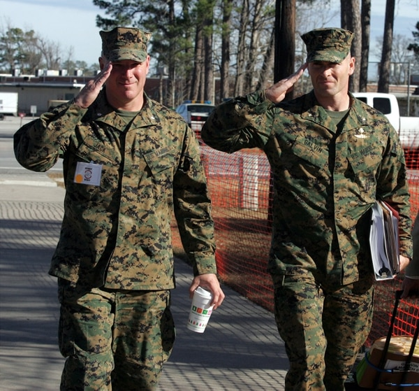 This is Marine Lt.Col. Scott Jack walking to court with his client Marine Maj. Fred Galvin on Tuesday Jan 8th,2008.They were coming back from a lunch break during the Inquiry into the shooting deaths of civilians in Afghanistan last year. Randy Davey photo
