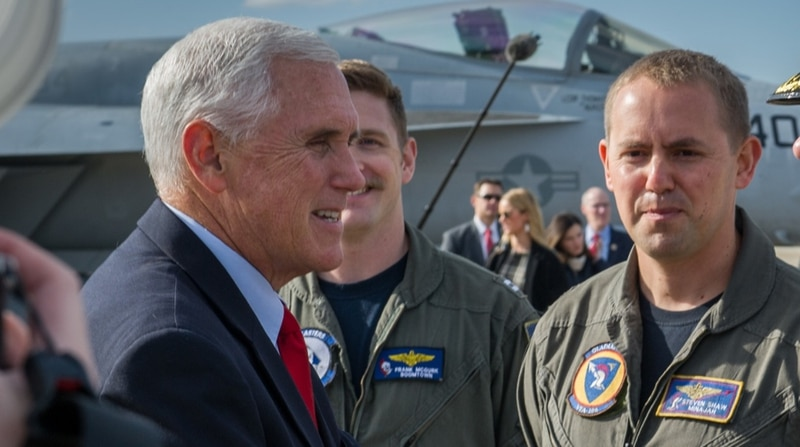 Vice President Mike Pence greets officers, including Lt. Steven