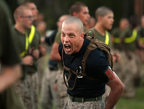 Sgt. William Loughran encourages recruits from 3rd Recruit Training Battalion during physical training at Marine Corps Recruit Depot Parris Island, South Carolina. (Cpl. Caitlin Brink/Marine Corps)