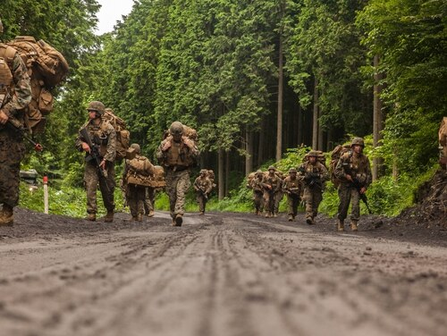 U.S. Marines with Fuels platoon and Headquarters and Service Company, Marine Wing Support Squadron (MWSS) 171 stationed at Marine Corps Air Station Iwakuni, Japan, conduct a patrol as part of their company level training during exercise Eagle Wrath 2016 at Combined Arms Training Center Camp Fuji, July 21, 2016. During this training, the company commanders have the opportunity to train their personnel and prepare for the final culminating event where Marines will construct and defend a landing zone and refueling point. (U.S. Marine Corps photo by Lance Cpl. Aaron Henson)