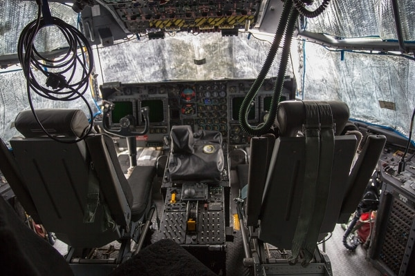 The cockpit view from one of the four MC-130Hs operated by the 353rd Special Operations Group at Kadena Air Base, Japan. The MC-130Hs are in the process of being replaced by the MC-130J Commando II. (Jeff Martin/Staff)