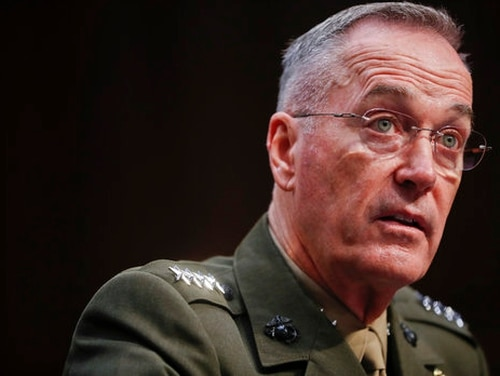 Joint Chiefs Chairman Marine Corps Gen. Joseph Dunford testifies before the Senate Committee on Armed Services on Capitol Hill in Washington, Tuesday, Sept. 26, 2017, to consider his reappointment.(Pablo Martinez Monsivais/AP)