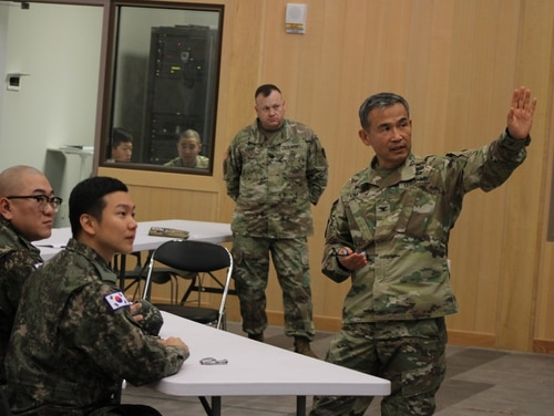 Chaplain Col. Moon H. Kim, Camp Humphreys garrison chaplain, teaches RoK Army chaplains about logistics and religious support. (Sgt. Ian Vega-Cerezo/Army)