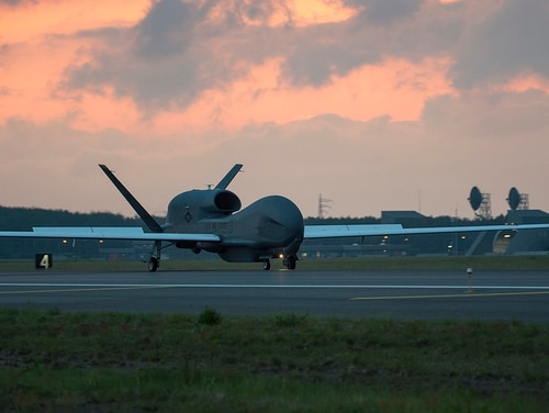 Google will not renew a Pentagon contract to interpret video and improve the targeting of drone strikes. Pictured: An RQ-4 Global Hawk lands at Misawa Air Base, Japan, June 1, 2018. (Staff Sgt. Deana Heitzman/Air Force)