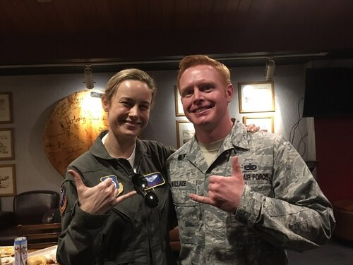 Oscar-winning actress Brie Larson, left, visited Nellis Air Force Base in Nevada recently to research her next role: Air Force officer-turned-Avenger Captain Marvel. (Courtesy photo via Staff Sgt. Don Wallace)