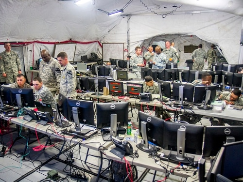The Army wants to ensure command posts, like this one pictured, the 1st Cavalry Division Tactical Command Post at the National Training Center at Fort Irwin, California, don't become easy targets. (Sgt. 1st Class Jeremy D. Crisp, 1st Cavalry Division, Army)