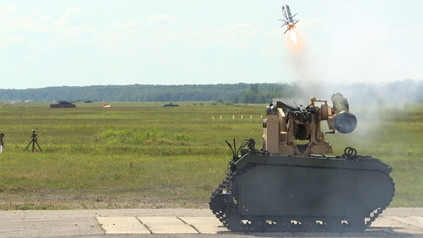 A Javelin missile being fired from a Milrem Robotics unmanned ground vehicle using a Kongsberg remote launcher at Redstone Arsenal. (Photo courtesy of Kongsberg)