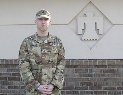 Sgt. Darren Watkins, with the Oklahoma National Guard, saved an elderly woman and her four dogs from a deadly house fire. (Spc. Jessica Todd)