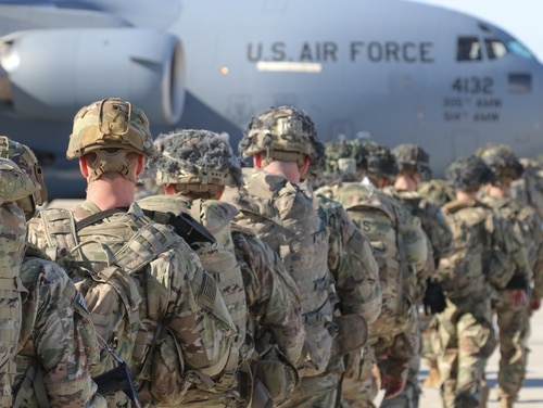 U.S. Army paratroopers deploy from Pope Army Airfield, North Carolina, Jan. 1, 2020. (Capt. Robyn J. Haake/Army)