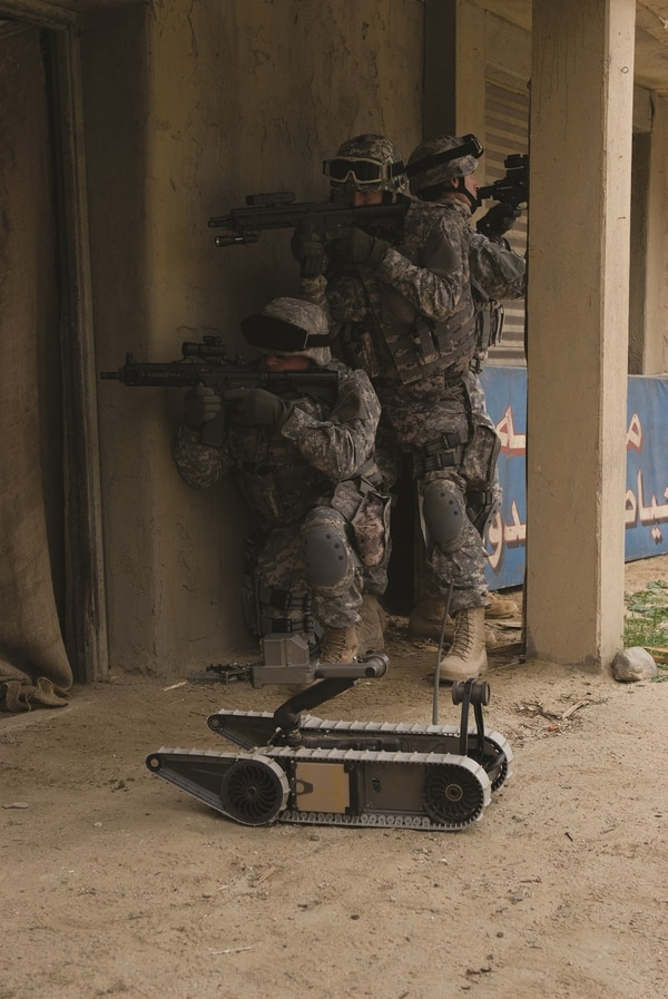 A larger, but still rucksack-packable robot made by the same company has been in the Marine Corps inventory since 2014 and is still used for similar missions. (Endeavor Robotics)