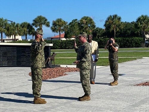 Former Iraqi interpreter Sam Al Helli is sworn in as a lieutenant in the Navy Reserve during a July 16 ceremony at the Special Operations Forces Memorial on MacDill Air Force Base in Tampa, Florida. (photo courtesy of Sam Al Helli).
