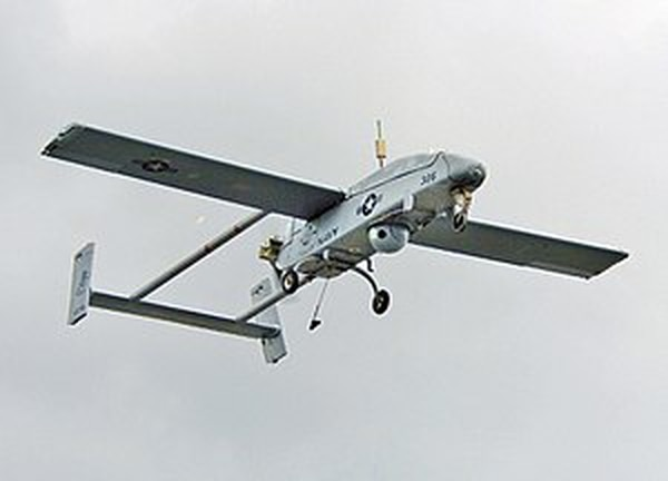 A Pioneer drone mid-flight. The Pioneer was the first modern-style drone used by the U.S.