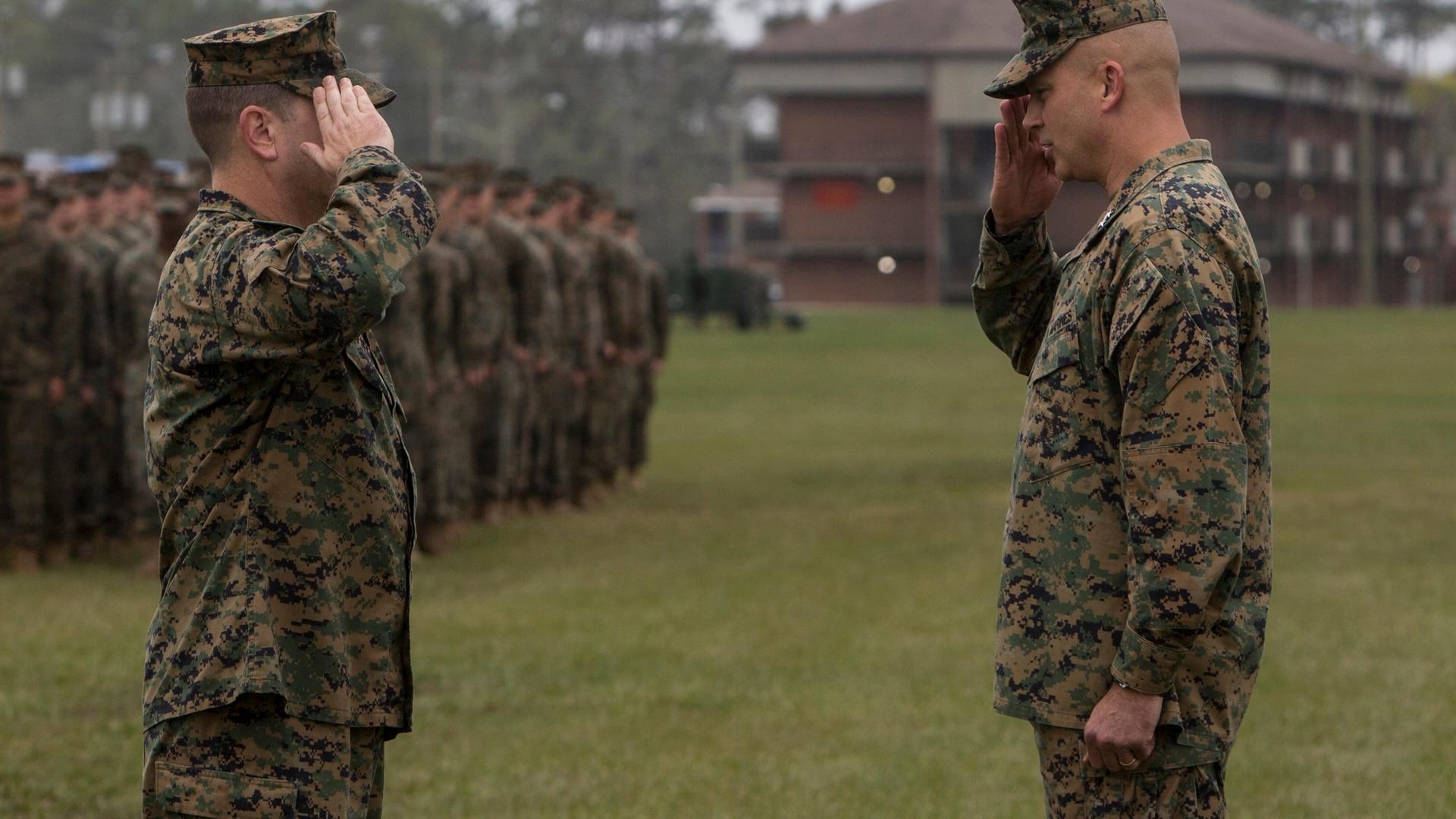 Maj. Gen. David Furness, right, at Camp Lejeune, North Carolina, Nov. 9, 2018. (Cpl. Christian J. Robertson/Marine Corps)