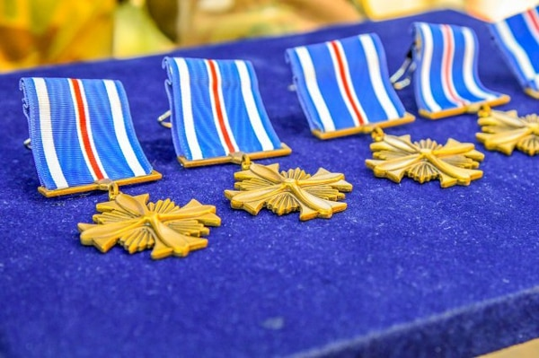 The Distinguished Flying Cross is awarded to service members who distinguish themselves by heroic or extraordinary actions in flight while supporting combat operations. (Capt. Kristoffer Sibbaluca/Army)