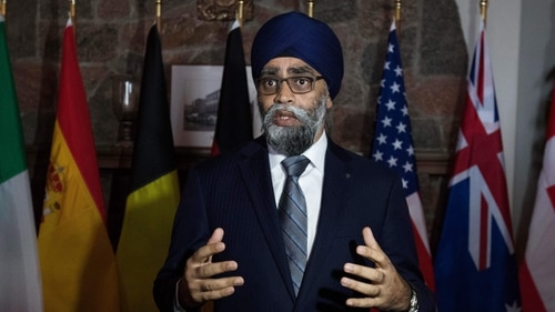 Canadian Minister of Defence Harjit Sajjan speaks with the media in Chelsea, Quebec, on Dec. 6, 2018, as defense ministers meet for the Global Coalition to Defeat ISIS. (Photo by Lars Hagberg/AFP via Getty Images)
