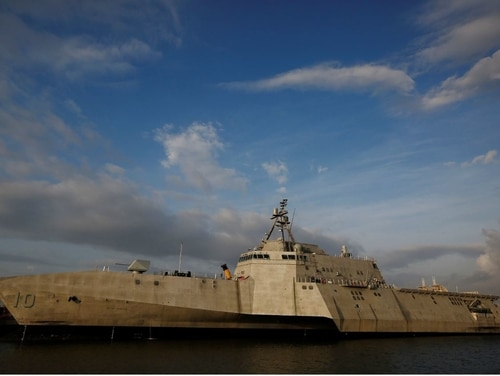 This Nov. 30, 2016 photo shows littoral combat ship Gabrielle Giffords, which was built at the Austal USA shipyards and docked here on the Mobile River in Mobile, Ala. (Brynn Anderson/AP)