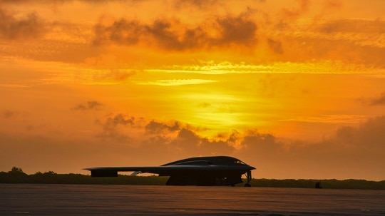 A B-2 Spirit sits on the flightline of Naval Support Facility Diego Garcia in support of a Bomber Task Force deployment, Aug. 24, 2020. (Tech. Sgt. Heather Salazar/Air Force)