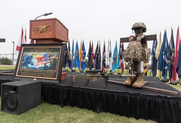 160512-N-UH236-012 SAN DIEGO (May 12, 2016) Friends, family and Teammates paid tribute to Chief Special Warfare Operator (SEAL) Charles H. Keating IV during a memorial at Tidelands park in Coronado, California. Keating was killed in action in Iraq, May 3. (U.S. Navy photo by Mass Communication Specialist 2nd Class Paul Coover/Released)