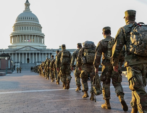 Members of the National Guard arrive at the U.S. Capitol on Jan. 12, 2021, in Washington. (Tasos Katopodis/Getty Images)