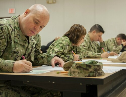The Navy wants educational efforts to be a much more prominent factor for the service's selection boards. (MC2 Shayla D. Hamilton/Navy)