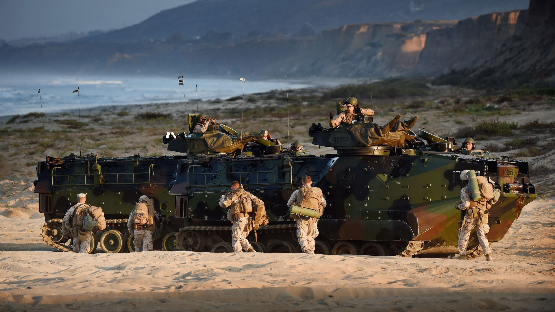 U.S. Marines take positions during an amphibious landing operation with the Japan Maritime Self-Defense Force at the Dawn Blitz 2015 exercise at Camp Pendleton, California, in September 2015. (Mark Ralston/AFP/Getty Images)
