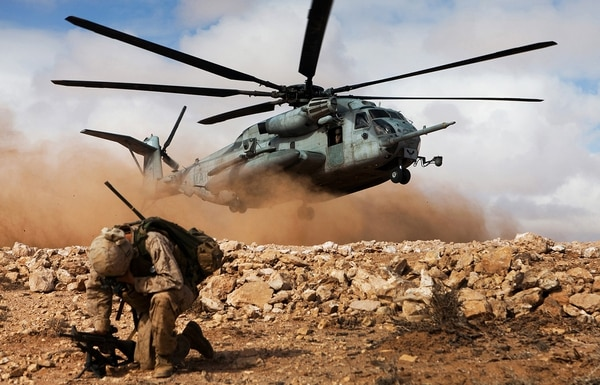 Marines of 1st Battalion, 2nd Marine Regiment, Battalion Landing Team, 24th Marine Expeditionary Unit, wait to be extracted by helicopter during a rehearsal of the final exercise at Exercise Africa Lion 2012, in April 2018. The U.S. African Command-sponsored, Marine Forces Africa-led exercise is designed to improve interoperability and mutual understanding of each nation's military tactics, techniques and procedures. (Cpl. Tyler Main/Marine Corps)
