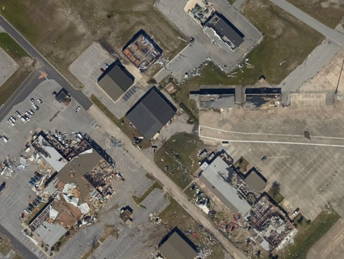 U.S. government satellite imagery from the National Oceanic and Atmospheric Administration shows the extent of the damage at Tyndall Air Force Base. The base is just east of Panama City, Florida, which took a direct hit from Hurricane Michael. Credit: NOAA