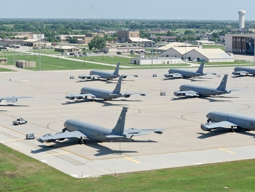 Two victims of an automobile crash at an unused access gate to McConnell Air Force Base in Kansas have been identified. McConnell is home to the world's largest air refueling wing. (Airman 1st Class John Linzmeier/Air Force)