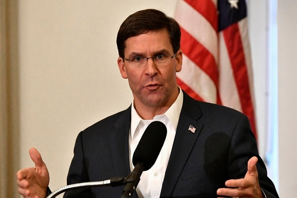 In this Oct. 4, 2019, file photo, Defense Secretary Mark Esper speaks to a gathering of soldiers at the University Club at the University of Louisville in Louisville, Ky. (Timothy D. Easley/AP)