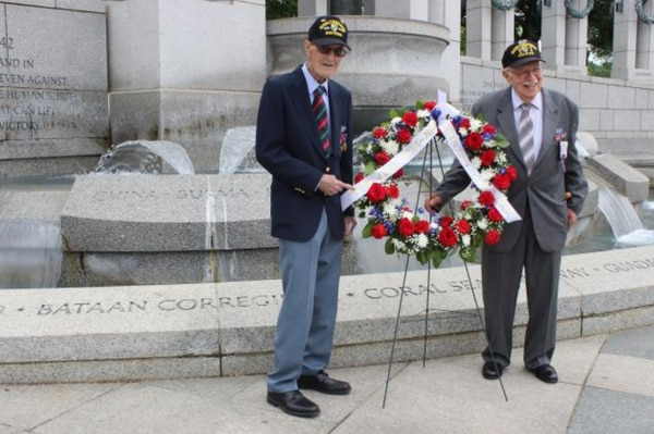 Merrill's Marauders Gilbert Howland, left, and Bob Passanisi, right, place a wreath at the WW II Memorial May 8, 2019, to commemorate 2019 as the 75th anniversary of their 1944 Burma mission. (Photo provided by Jonnie Clasen)