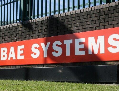 The BAE Systems logo is pictured at the company site at Brough in East Yorkshire, northeast England, on Sept. 27, 2011. (Lindsey Parnaby/AFP via Getty Images)
