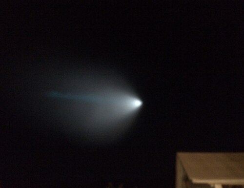 A light from a Navy unarmed missile is seen over Thousand Oaks, Calif., Saturday, Nov. 7, 2015. The Navy fired an unarmed missile from a submarine off the coast of Southern California on Saturday, creating a bright light that streaked across the state and was visible as far away as Nevada and Arizona. (Eddy Hartenstein/Los Angeles Times via AP) NO FORNS; NO SALES; MAGS OUT; ORANGE COUNTY REGISTER OUT; LOS ANGELES DAILY NEWS OUT; INLAND VALLEY DAILY BULLETIN OUT; MANDATORY CREDIT, TV OUT